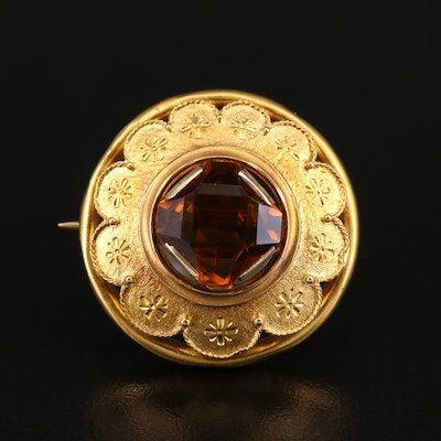 Antique 14K Citrine Floral Brooch