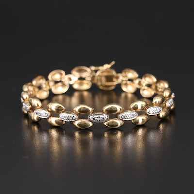 Sterling Diamond Link Bracelet