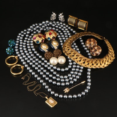Les Bernard and Vintage Clip Earrings and Other Jewelry