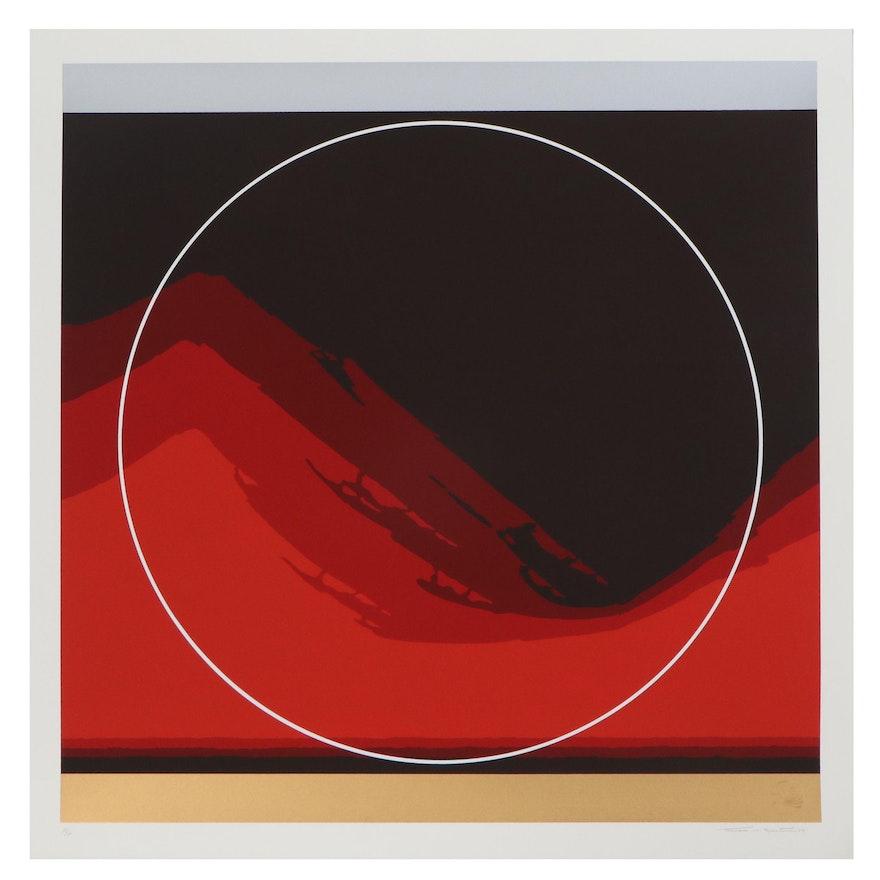 """Thomas Whelan Benton Serigraph """"Untitled (Red wave 8),"""" 1979"""