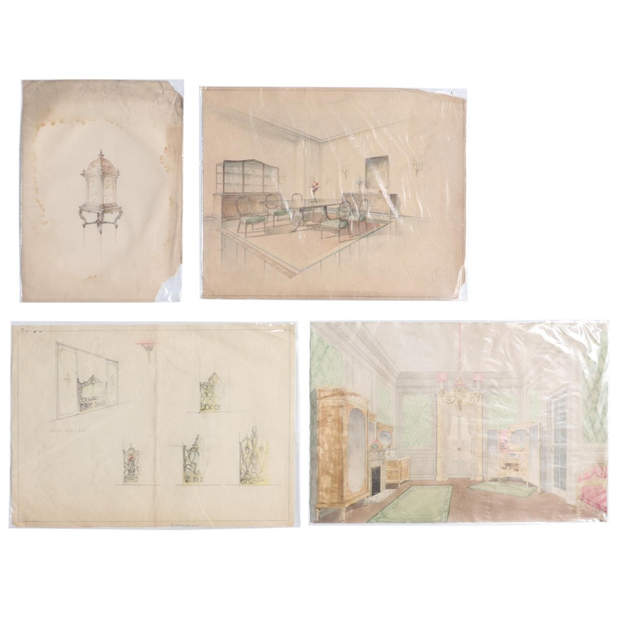 Manuel Lopez Watercolor Paintings of Interior and Furniture Designs