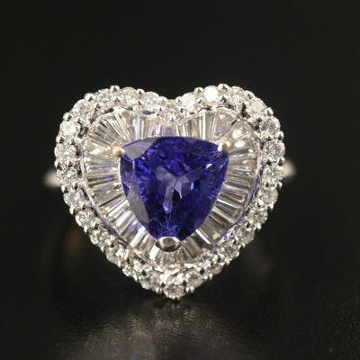 14K 3.00 CT Tanzanite and 1.25 CTW Diamond Heart Ring
