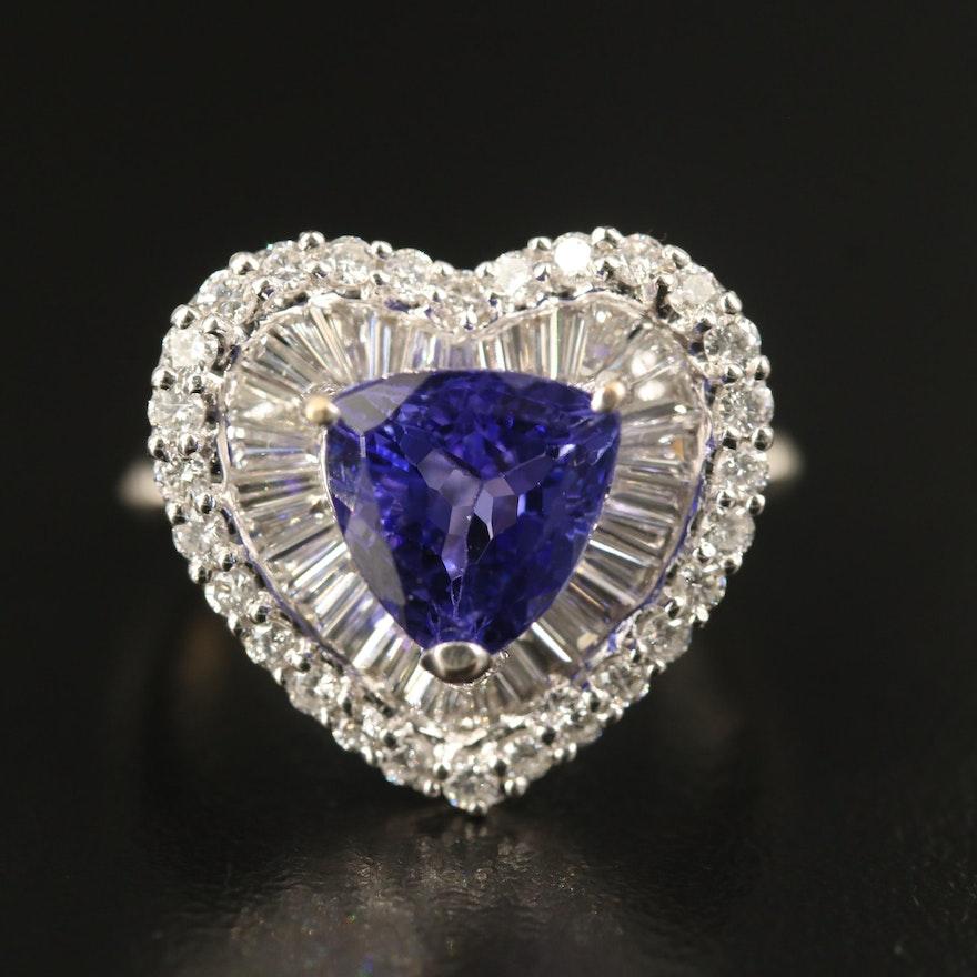 14K 3.00 CT Tanzanite and 1.25 CTW Diamond Heart Ring