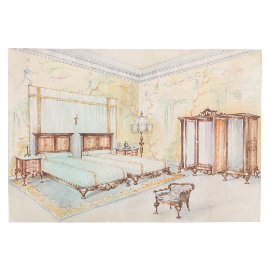 Manuel Lopez Watercolor Painting of Interior Bedroom, Early 20th Century