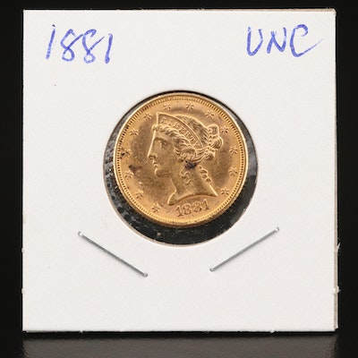 1881 Liberty Head $5 Gold Half Eagle Coin