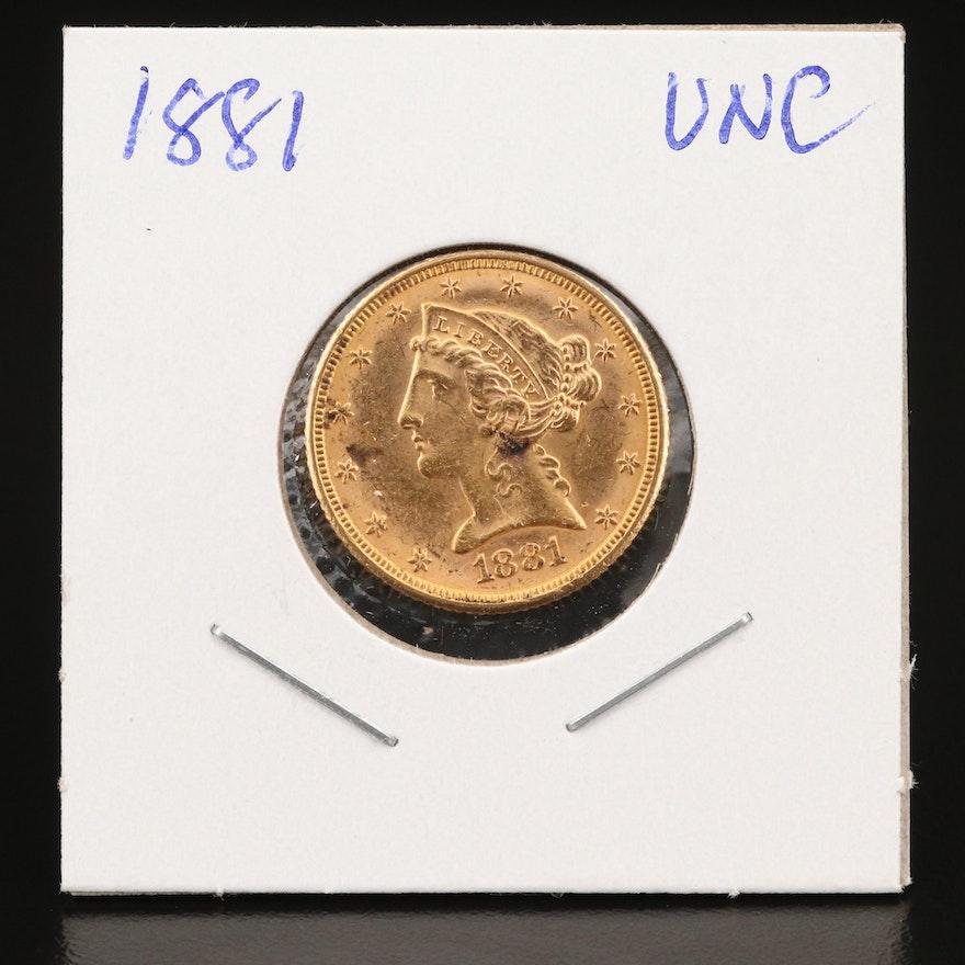 1881 Liberty Head $5 Gold Half Eagle Coin