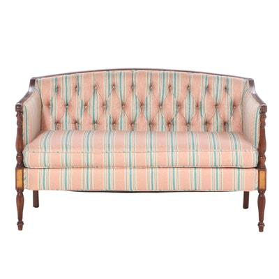 Jos. Betz & Sons Federal Style Custom Upholstered Mahogany Settee, Late 20th C.