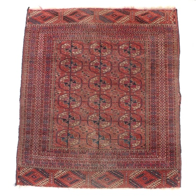3'8 x 4'5 Hand-Knotted Afghan Turkmen Bokhara Wool Area Rug