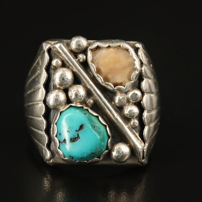 Southwestern Style Sterling Turquoise and Coral Ring