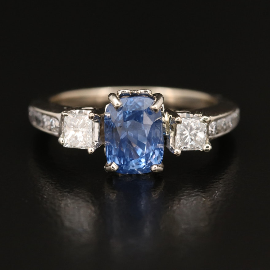 14K 2.16 CT Sapphire and Diamond Fleur-de-Lis Ring with GIA Report