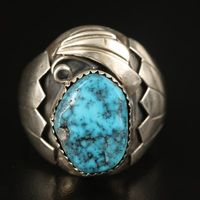 Eddie Secatero Navajo Diné Sterling Turquoise Ring