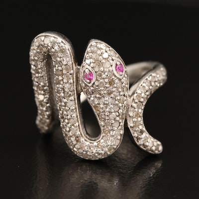 Sterling Diamond and Ruby Snake Ring