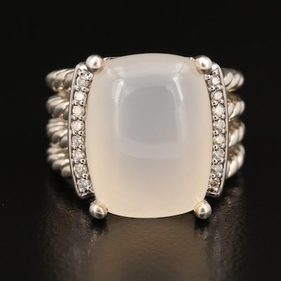 "David Yurman ""Wheaton"" Sterling Moonstone and Diamond Ring"