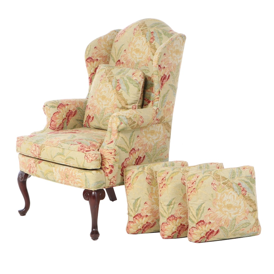 C. R. Laine Queen Anne Style Custom Upholstered Wingback Armchair plus Pillows