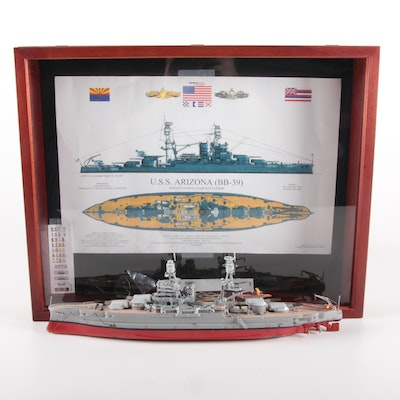 U.S.S. Arizona Battleship Model in Wooden Display Case