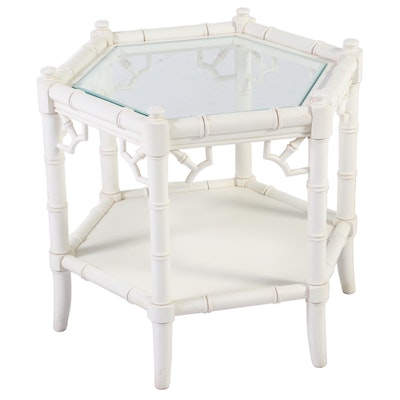 White Painted Simulated Bamboo and Glass Top Hexagonal Side Table, Late 20 C.