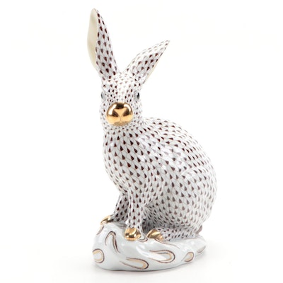 """Herend Chocolate Fishnet with Gold """"Large Rabbit"""" Porcelain Figurine"""
