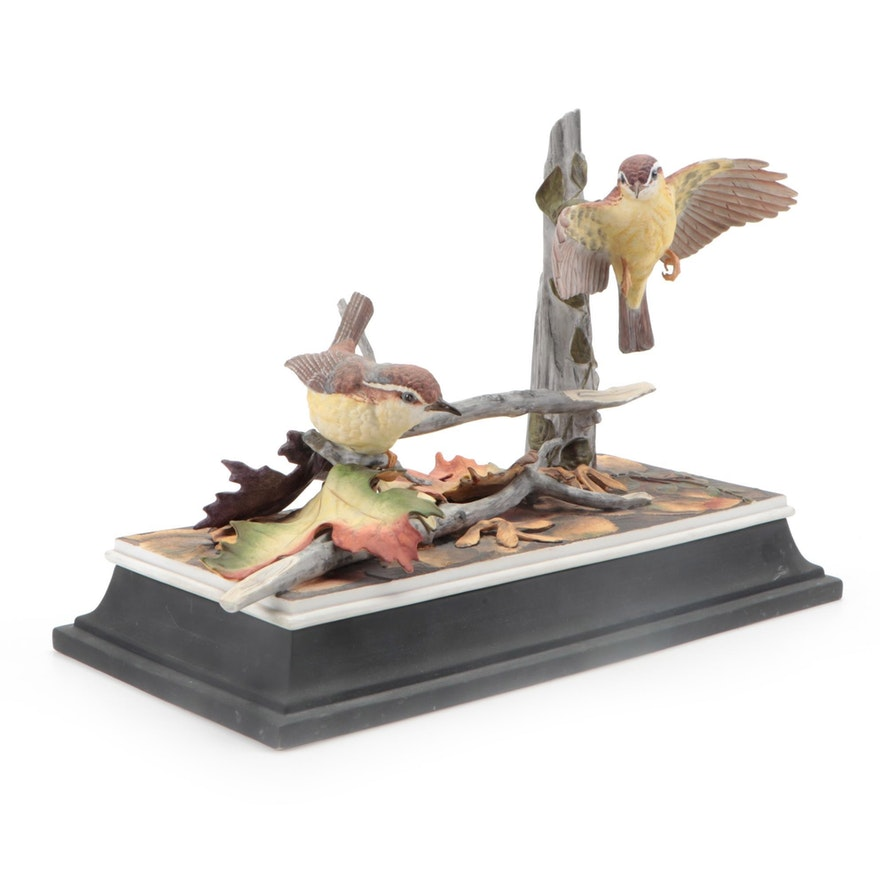 "Boehm ""Carolina Wrens"" Hand-Painted Porcelain Figurine"