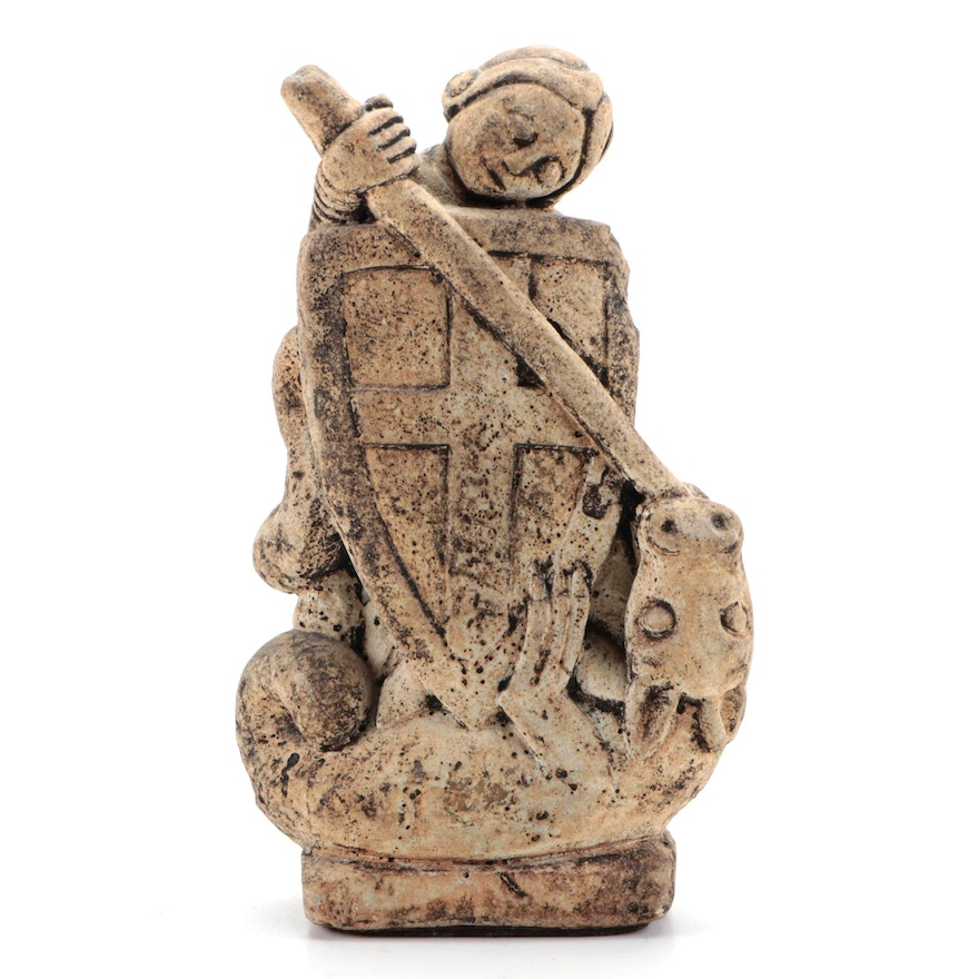 Medieval Style Saint George and the Dragon Cast Stone Figurine