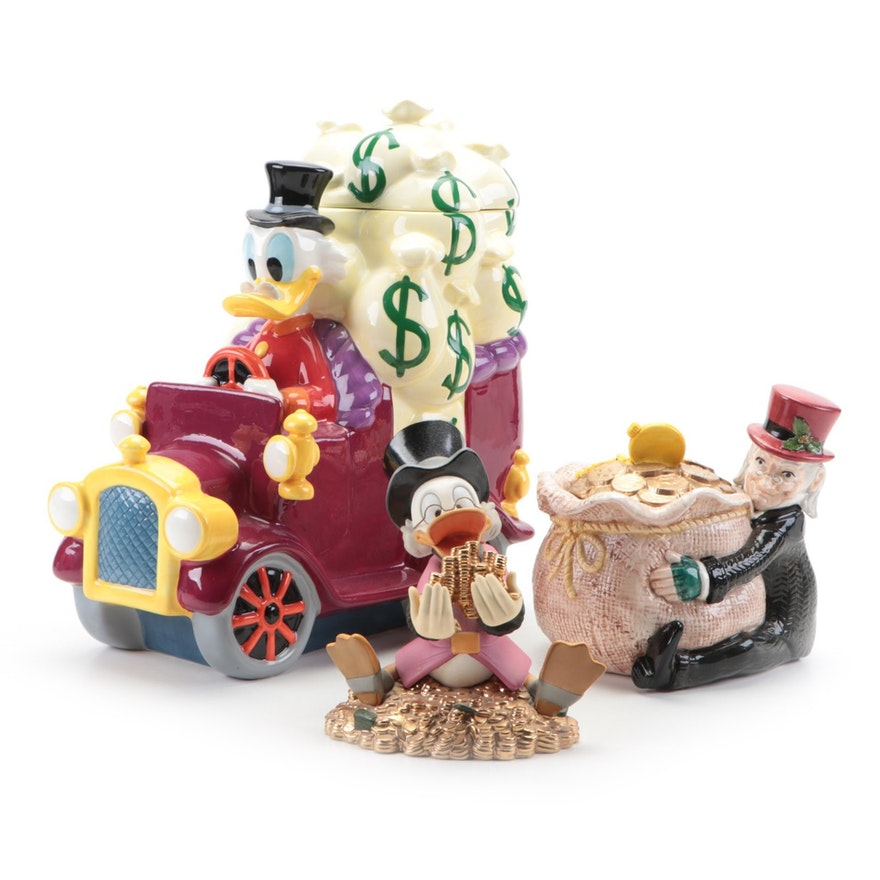 Walt Disney Classic Collection Scrooge McDuck Figurine with Cookie Jar and Other