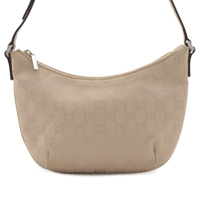 Gucci Crescent Baguette in Beige GG Canvas with Leather Trim