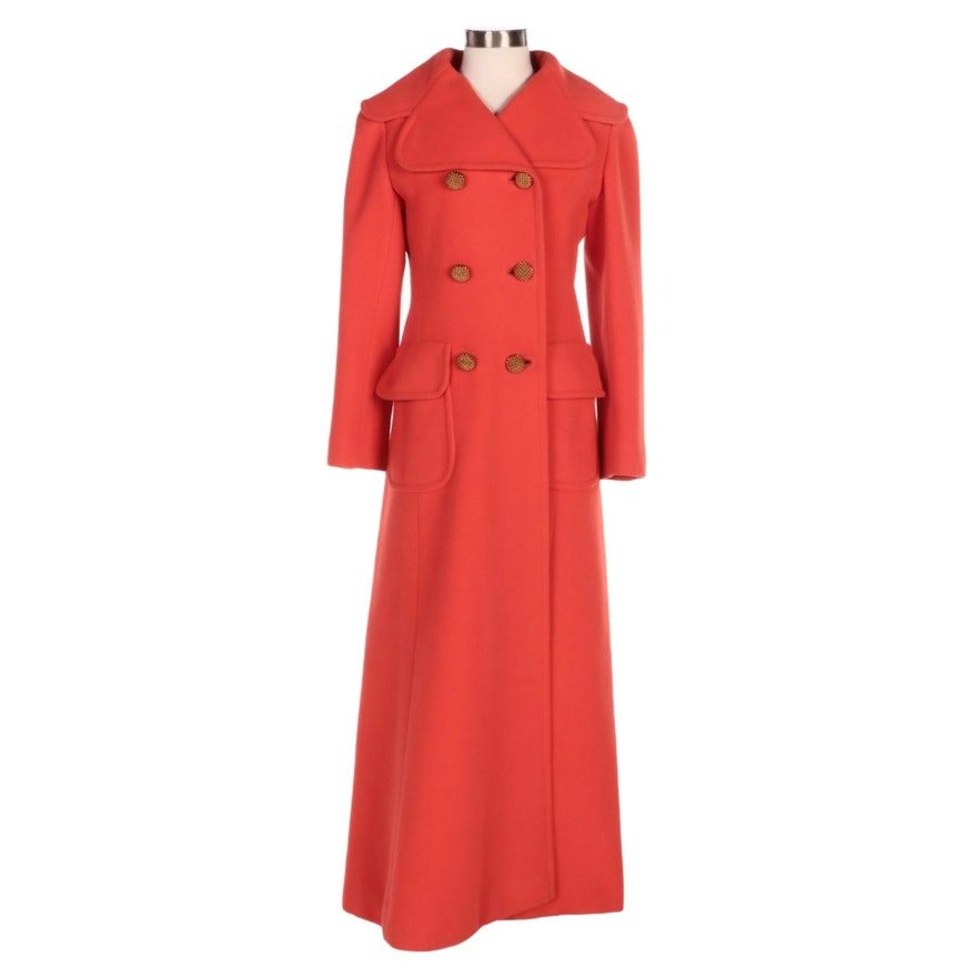 Orange Red Wool Double-Breasted Full-Length Coat