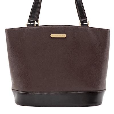 Burberry Dark Brown Textured/Smooth Leather Shoulder Bag