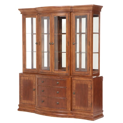 Cherry Bow-Front Illuminated Two-Piece China Cabinet