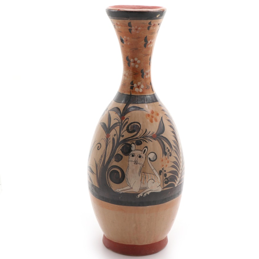 Mexican Folk Art Hand-Painted Terracotta Vase, Late 20th Century