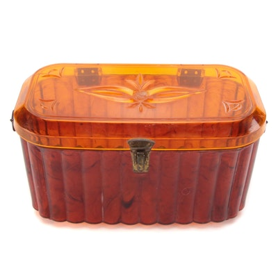 Cadillac Presentation Amber-Colored Swirl Scalloped Box Purse with Foliate Lid