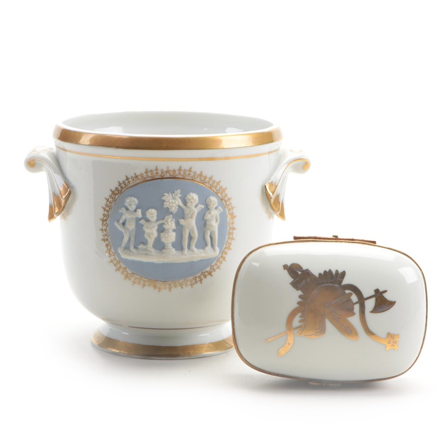 Couleuvre Limoges Box and Other Porcelain Neoclassical Style Cachepot, Vintage