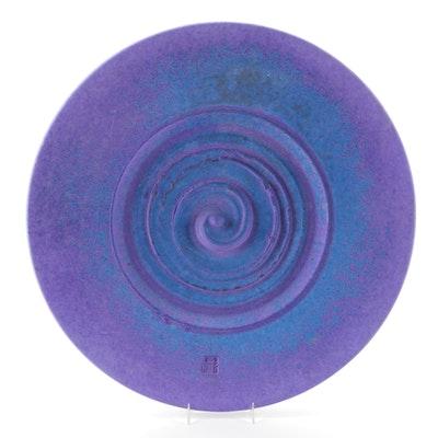 Patrick Horsley Matte Glazed Sculptural Stoneware Wall Art Platter