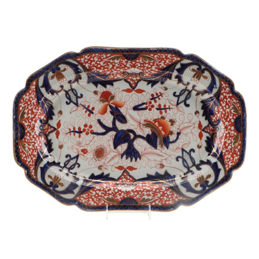 English Imari Kings Pattern Large Ceramic Serving Platter, Early-Mid 19th C.