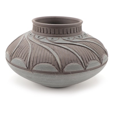Larry Allen Pottery Sgraffito Wheel Thrown Vase, 1998