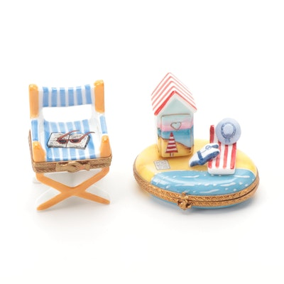 Hand-Painted Beach Motif Porcelain Limoges Boxes