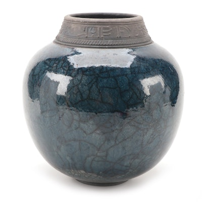 Angela Fina Pottery Blue Crackle Glaze Round Vase