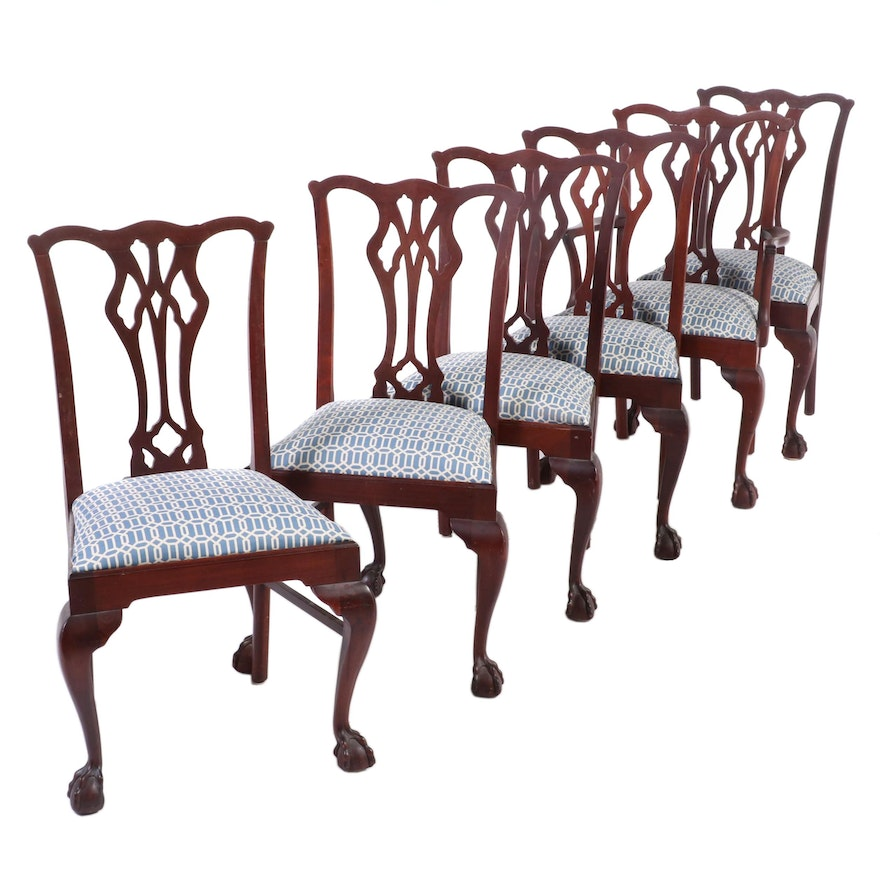 Six Chippendale Style Mahogany Upholstered Dining Chairs, Late 20th Century