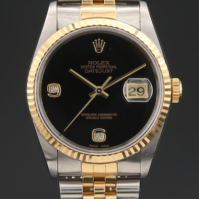 1997 Rolex Datejust Diamond Onyx Dial 18K Gold and Stainless Steel Wristwatch
