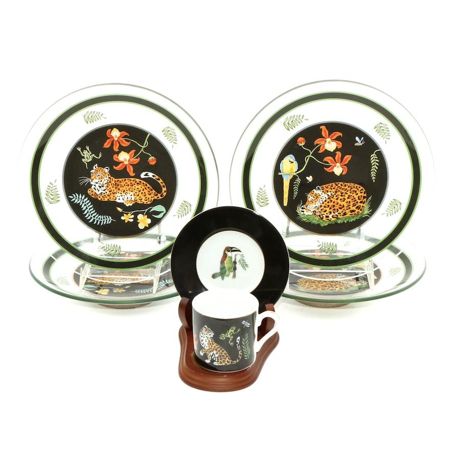 "Lynn Chase ""Jaguar Jungle"" Glass and Ceramic Plates and Mug"