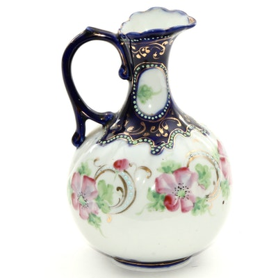 Antique Hand-Painted Moriage Accented Porcelain Ewer, Early 20th Century