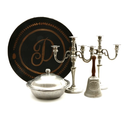 Pewter Candelabras, Wilton-Columbia Lidded Dish, Freedom Bell, and Tray