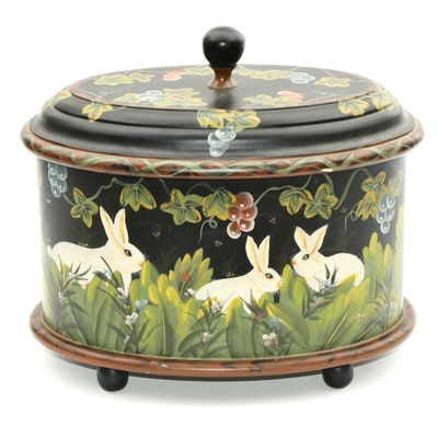 Hand-Painted Rabbit Decorative Footed Box, Contemporary