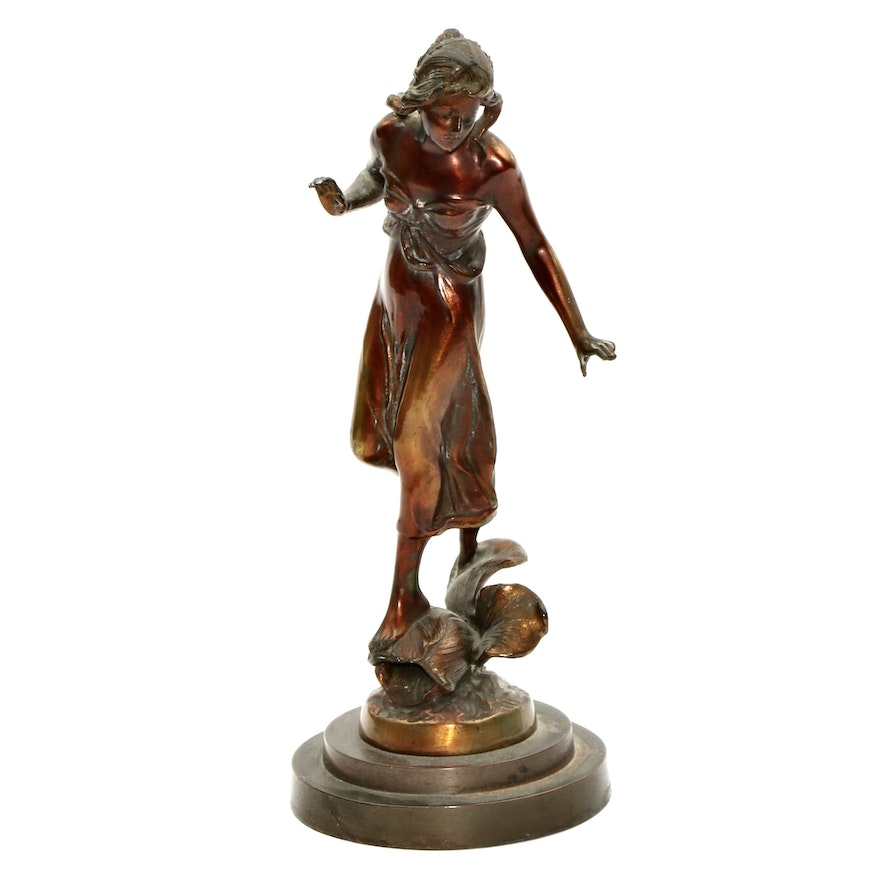 Art Nouveau Copper and Spelter Figurine of Young Woman, Late 20th Century