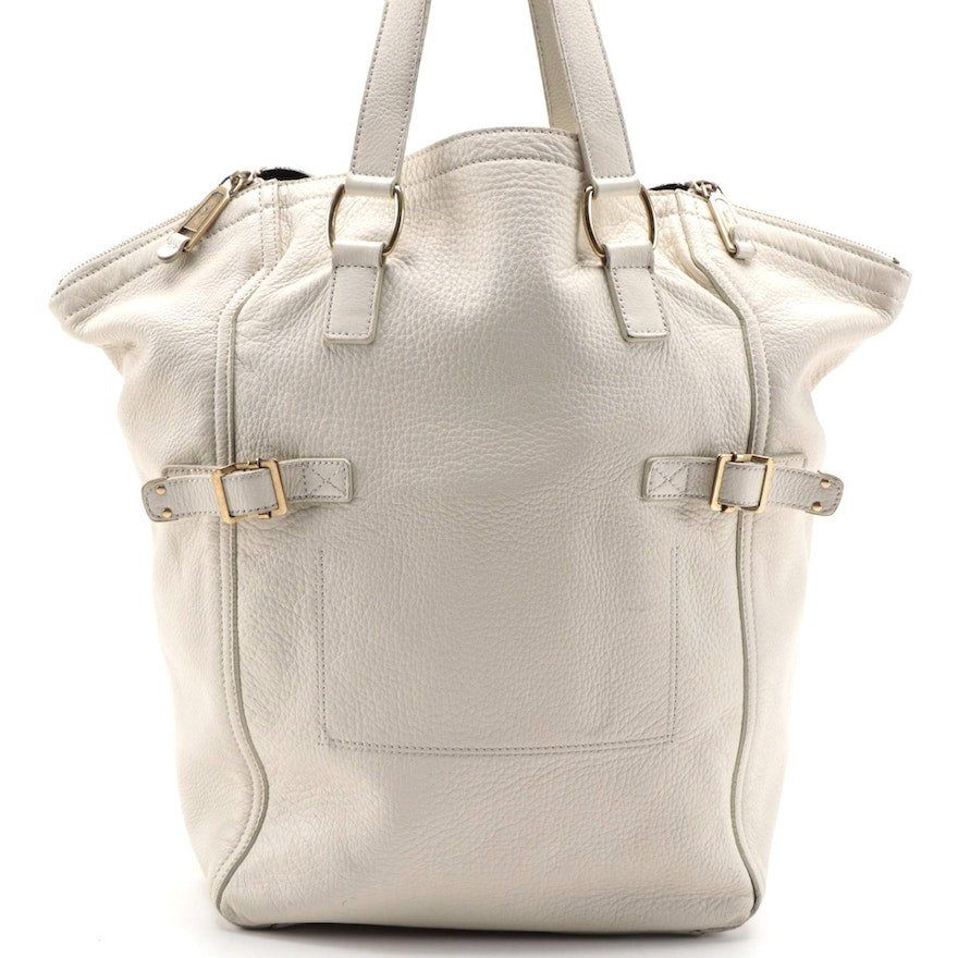 Yves Saint Laurent Large Downtown Tote in Off-White Grained Leather