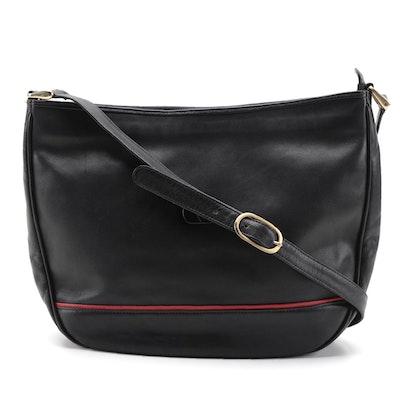 Valentino Garavani Black Leather Shoulder Bag with Red Accent