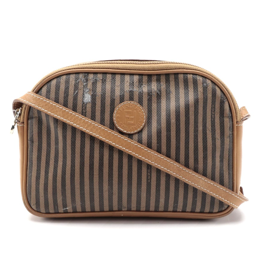 Fendi Crossbody Bag in Pequin Striped Canvas with Leather Trim