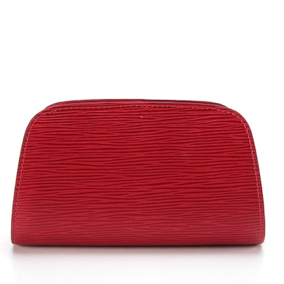 Louis Vuitton Dauphine PM Zip Case in Castilian Red Epi Leather