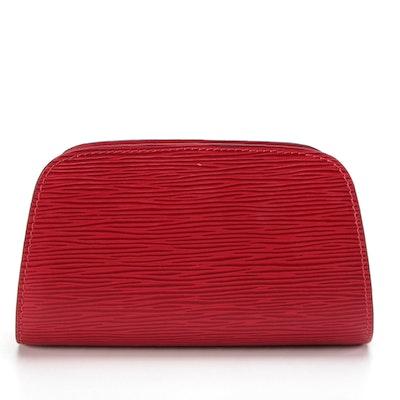 Louis Vuitton Dauphine PM Zip Case in Castilian Red Epi Leather