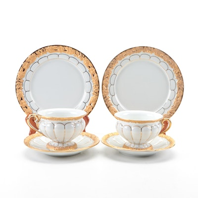 Meissen Gold Leaf Gilt Porcelain Teacups and Dessert Plates, Early-Mid 20th C.