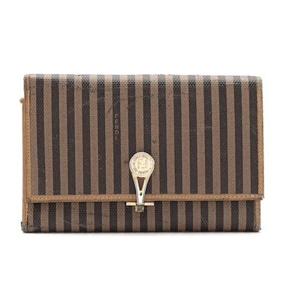 Fendi Trifold Wallet in Pequin Striped Canvas with Leather Trim